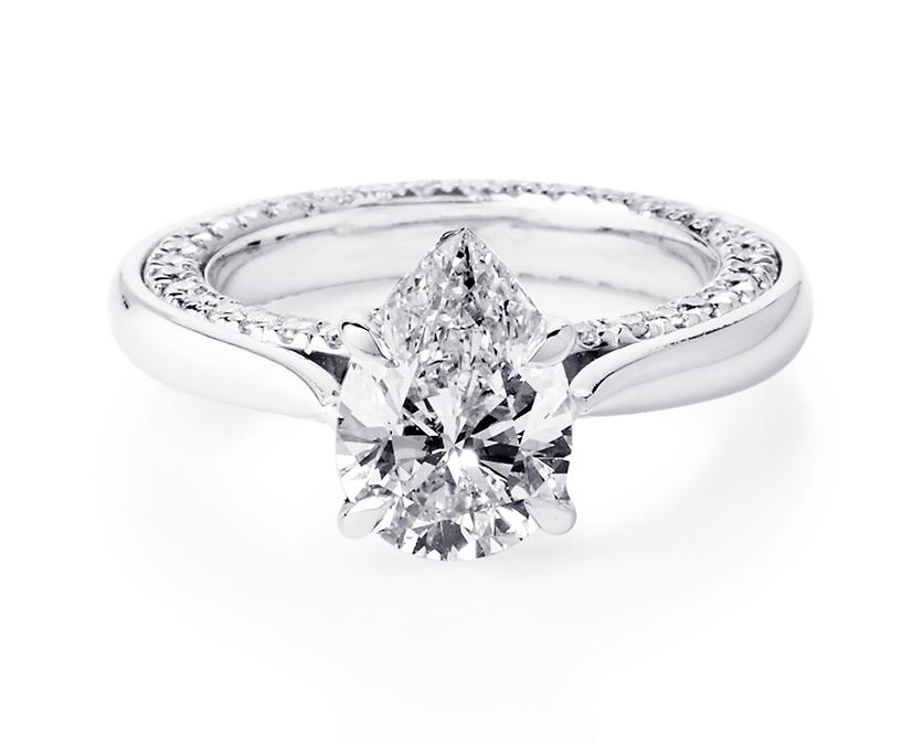 Platinum Pear Diamond Ring